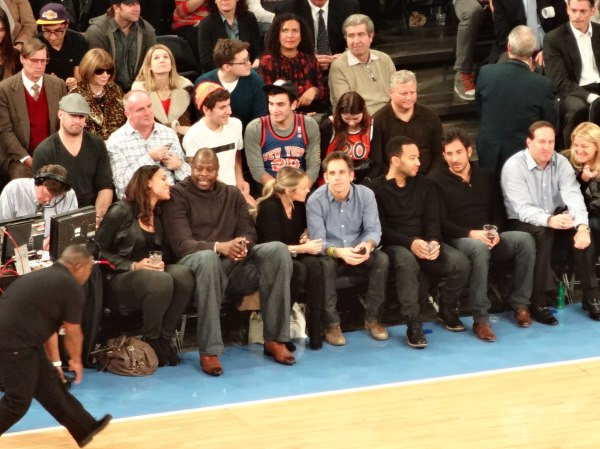 Courtside at the Knicks vs Lakers (Madison Square Garden). Patrick Ewing, Ben Stiller, John Legend.  Credit: Amandip Panesar