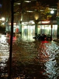Flooding outside my apartment/local pharmacy during Hurricane Sandy