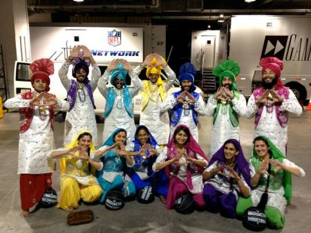 With fellow NY indians as part of the NYU Bhangra team. We were about to perform on the court at the Brooklyn Nets basketball game.